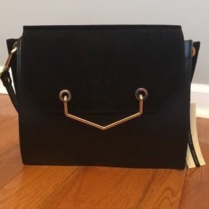 TOPSHOP leather crossbody bag with gold hardware